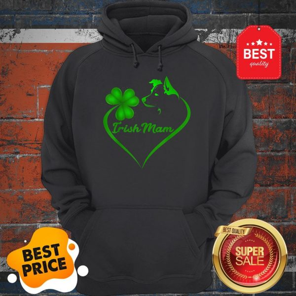 Premium Irish Mam Shamrock St Patrick Day Border Collie Dog Lover Hoodie
