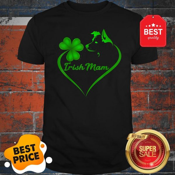 Premium Irish Mam Shamrock St Patrick Day Border Collie Dog Lover Shirt