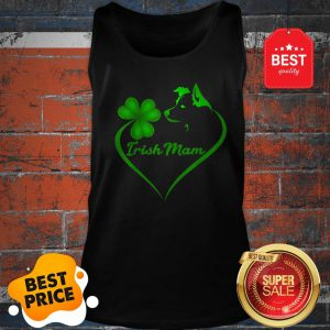 Premium Irish Mam Shamrock St Patrick Day Border Collie Dog Lover Tank Top