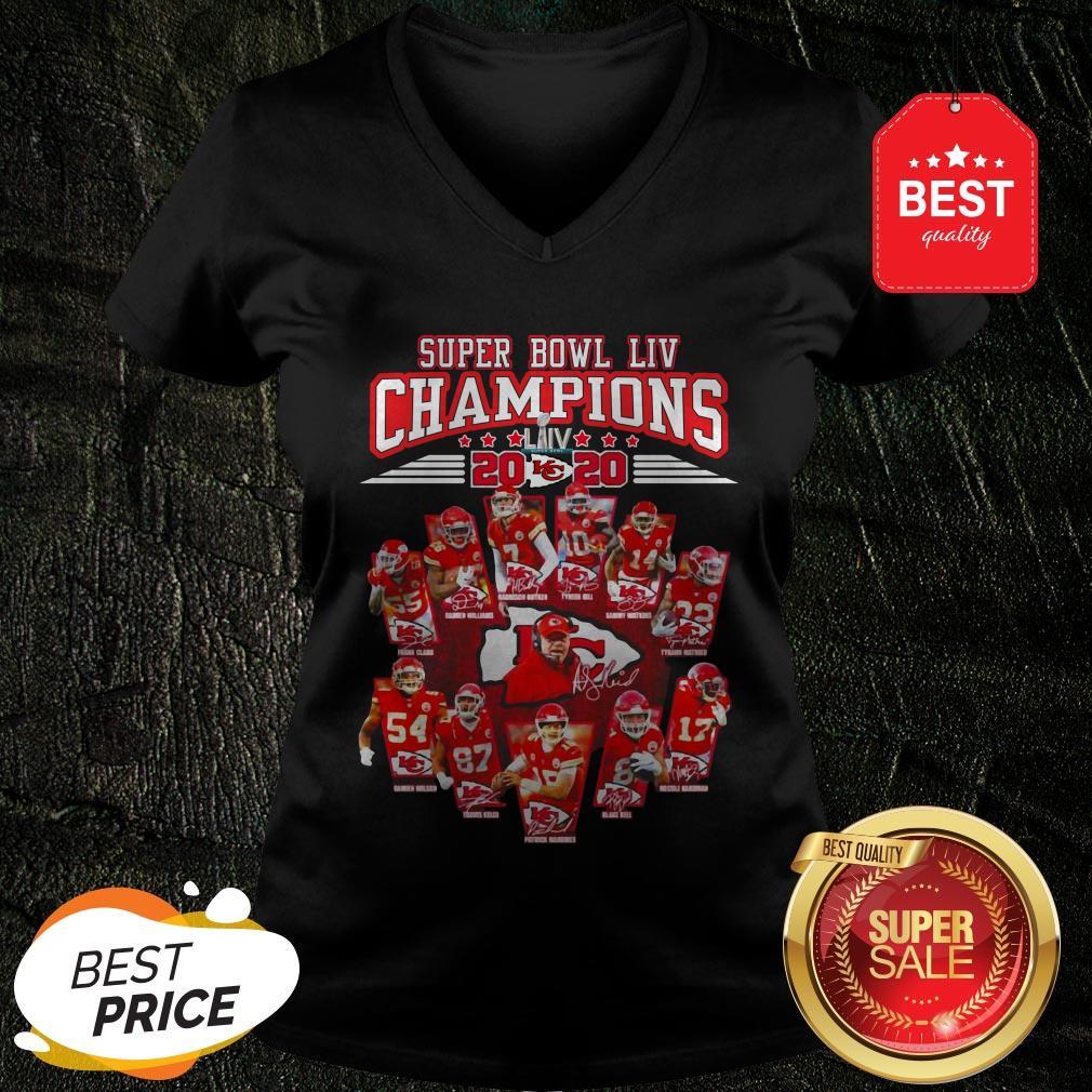 Super Bowl LIV Champions 2020 Kansas City Chiefs Signatures V-neck