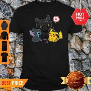 Stick Night Fury And Pikachu Cute Friendship Shirt