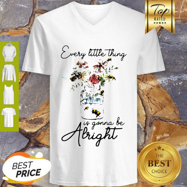Flowers Every Little Thing Is Gonna Be Alright V-neck