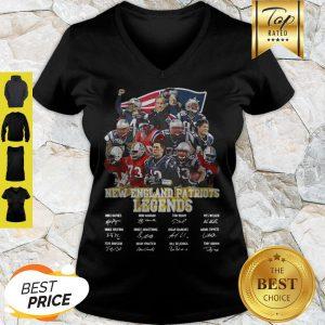 New England Patriots Legends All Team Player Signatures V-neck