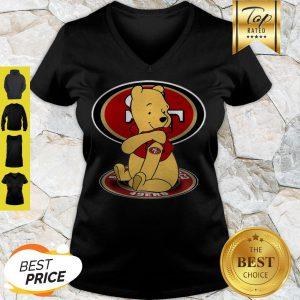 Winnie The Pooh Tattoo San Francisco 49ers V-neck