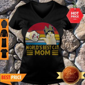 Vintage World's Best Cat Mom V-neck