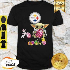 Baby Yoda Hug Pittsburgh Steelers Eggs Fertility At Easter Shirt