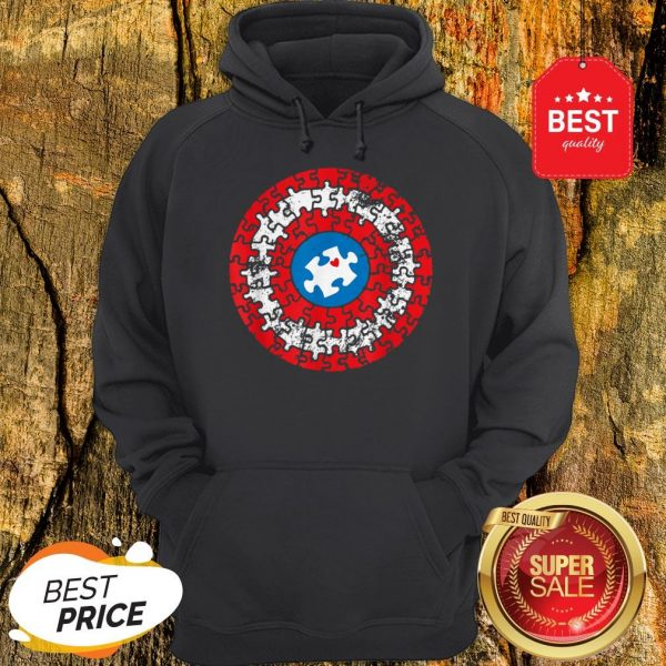 Captain Autism Puzzle Superhero Shield Autism Awareness Gift Hoodie