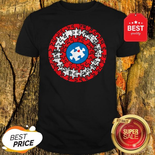 Captain Autism Puzzle Superhero Shield Autism Awareness Gift Shirt