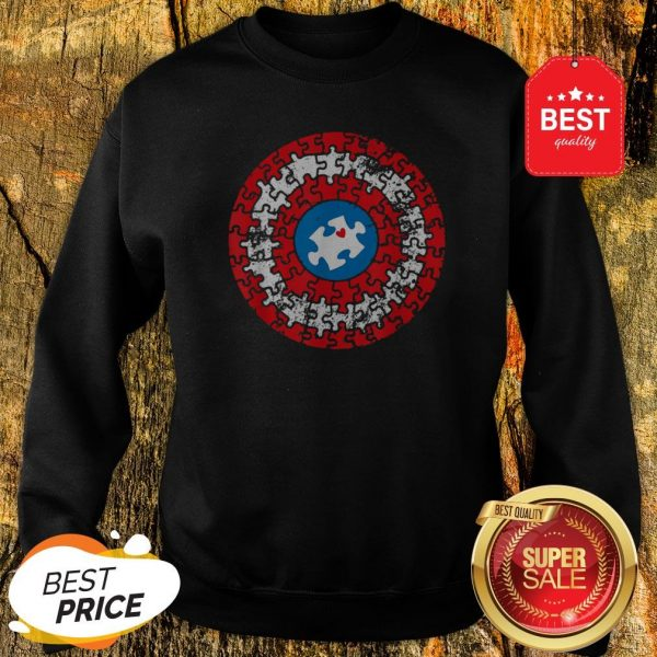 Captain Autism Puzzle Superhero Shield Autism Awareness Gift Sweatshirt