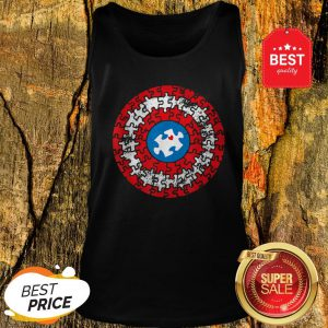 Captain Autism Puzzle Superhero Shield Autism Awareness Gift Tank Top