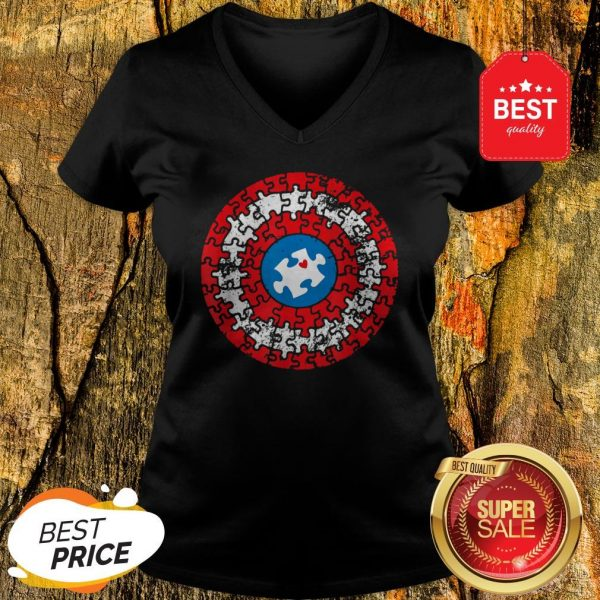Captain Autism Puzzle Superhero Shield Autism Awareness Gift V-neck