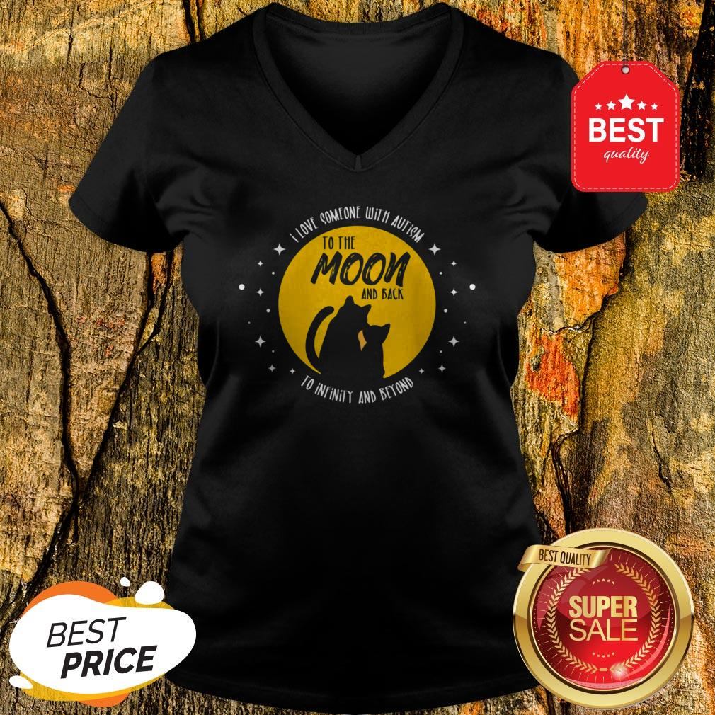 Cat Moon And Back I Love Someone With Cool Autism Gift V-neck