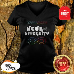 Celebrate Neurodiversity Rainbow Infinity Autism Awareness V-neck