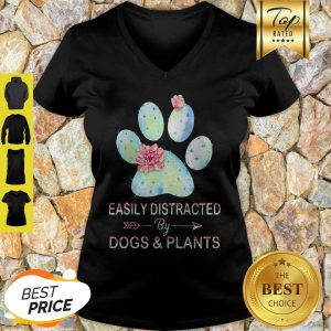 Easily Distracted By Dogs & Plants Paw Cactus V-neck