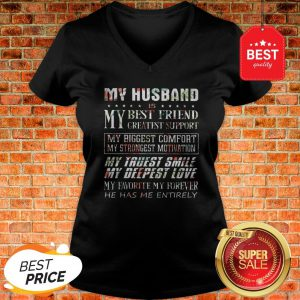 Flower My Husband Is My Best Friend Greatest Support My Biggest V-neck