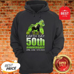 Gorilla Silhouette Earth Day 50th Anniversary April 22nd Hoodie