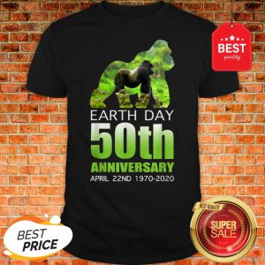 Gorilla Silhouette Earth Day 50th Anniversary April 22nd Shirt
