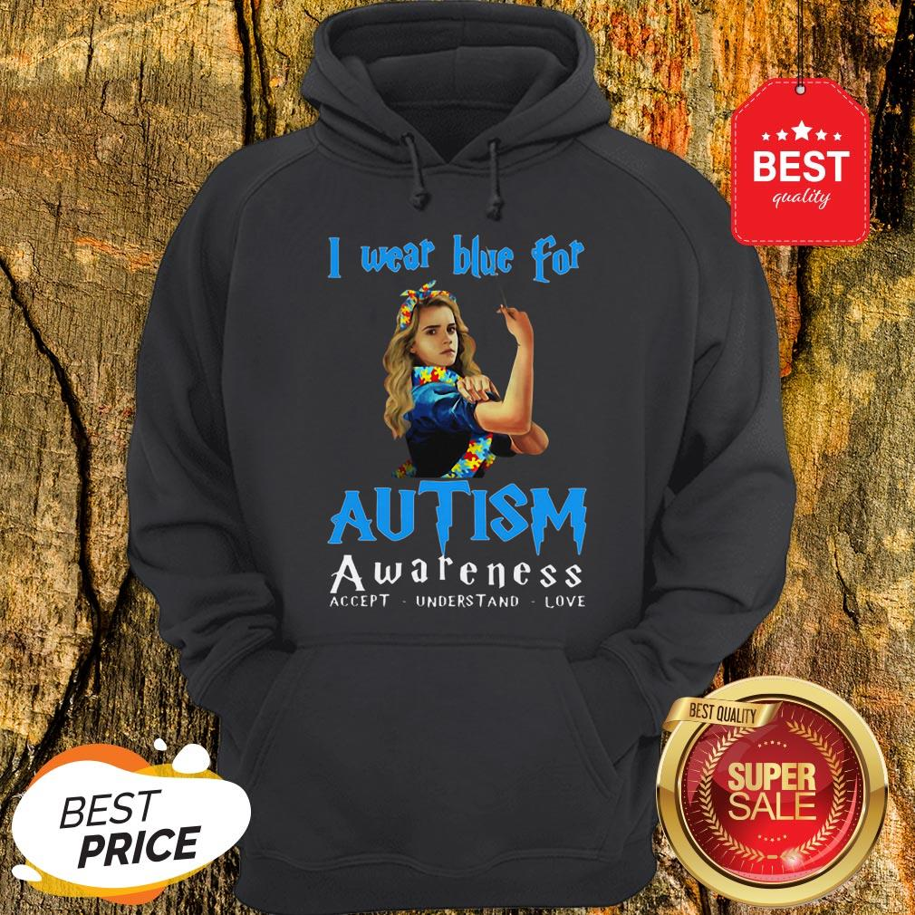Hermione Granger I Wear Blue For Autism Awareness Harry Potter Hoodie