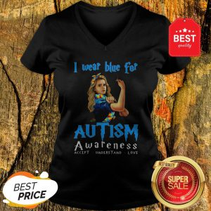 Hermione Granger I Wear Blue For Autism Awareness Harry Potter V-neck