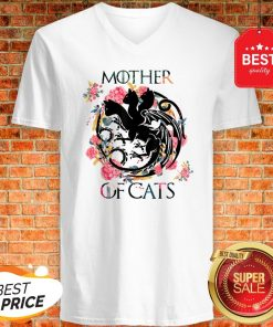 Nice Mother Of Cats – Cat Lovers Floral Gift For Cat Mom V-neck