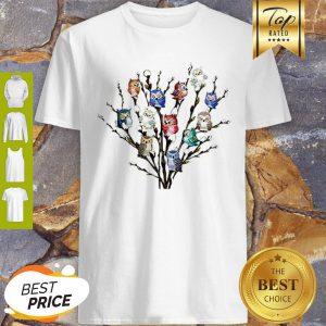 Nice Owl White Willows Flower Cute Shirt