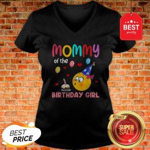 Nice Top Mommy Of Birthday Girl Gift Emoji Cute Bday Party V-neck