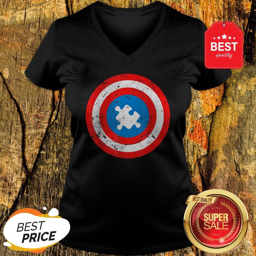 Official Captain Autism Puzzle Piece Cool Autism Superhero V-neck