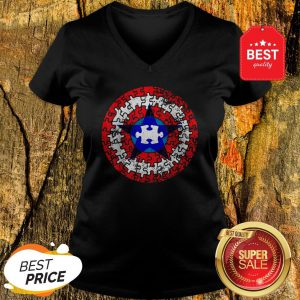 Official Captain Autism Superhero Shield Awareness V-neck