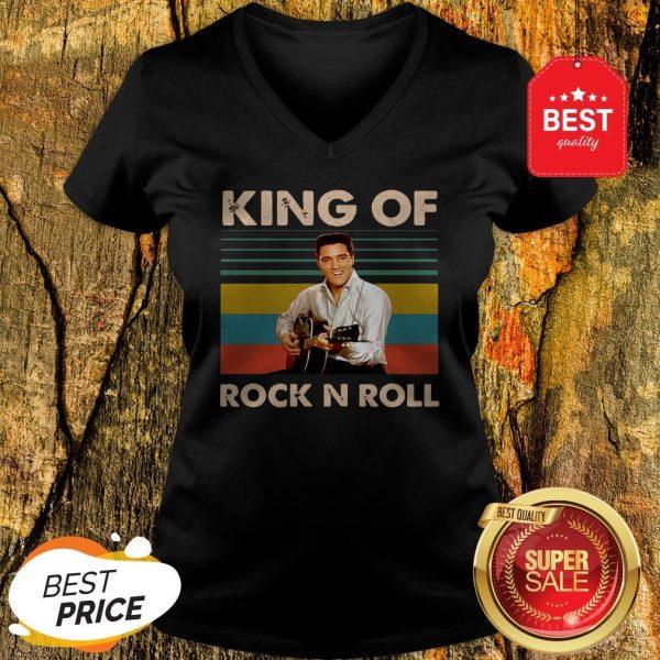 Official Elvis Presley King Of Rock N Roll Vintage V-neckOfficial Elvis Presley King Of Rock N Roll Vintage V-neck