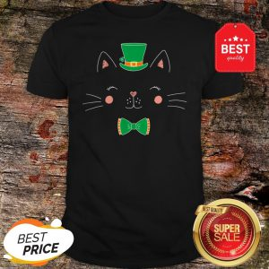 St Patricks Day Cat Funny With Irish Leprechaun Hat Shirt