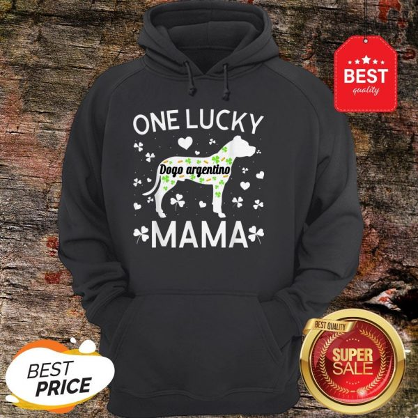 St Patricks Day Dogo Argentino Lucky Mama Mom Dog Gift Hoodie
