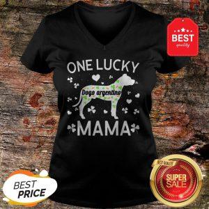 St Patricks Day Dogo Argentino Lucky Mama Mom Dog Gift V-neck