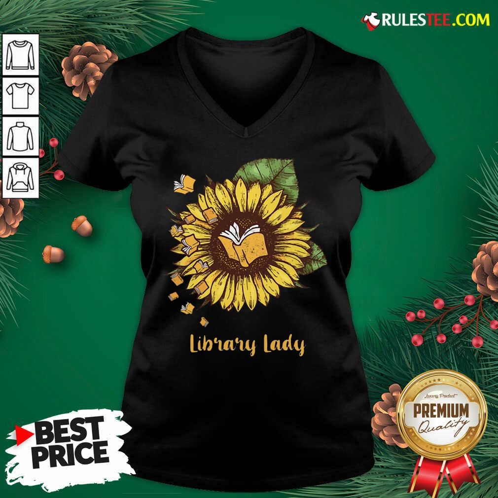 Sunflower Books Library Lady V-neck  - Design By Rulestee