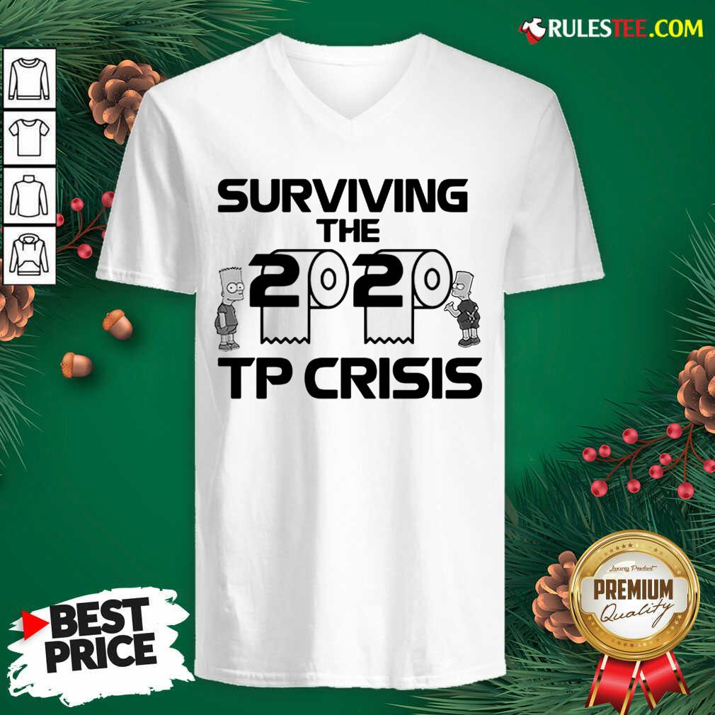 Surviving The 2020 Tp Crisis Toilet Paper Coronavirus V-neck - Design By Rulestee