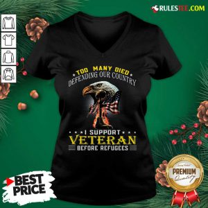 Too Many Died Defending Our Country I Support Veteran American Flag V-neck - Design By Rulestee