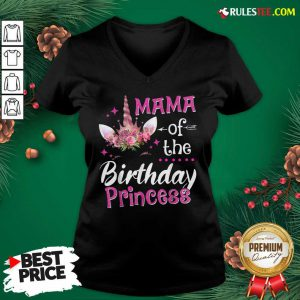 Top Mama Of The Birthday Princess Unicorn Matching Mommy V-neck - Design By Rulestee