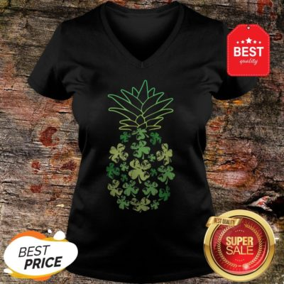 Women Pineapple Shamrock Leaf Clover St Patrick's Day V-neck - Design By Rulestee.com