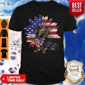 Daschund Sunflower America Flag Dog Lovers Shirt