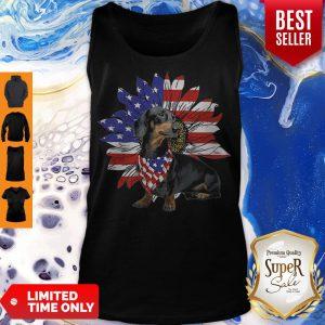Daschund Sunflower America Flag Dog Lovers Tank Top