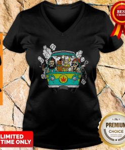 Official Hippie Weed Bus Cheech And Chong Scooby Doo Smoking V-neck