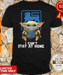 Baby Yoda Face Mask Hug Food Lion I Can't Stay At Home Shirt