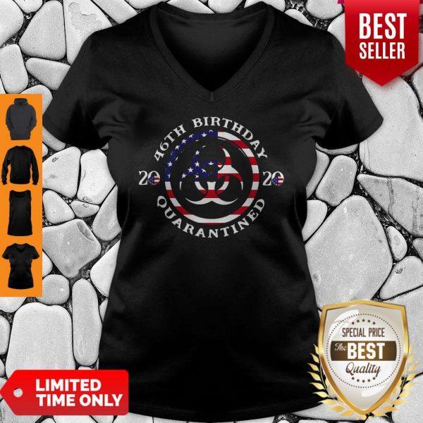 46th Birthday 2020 Quarantined American Flag V-neck
