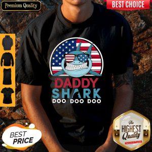 America Flag Daddy Shark Doo Doo Doo Shirt