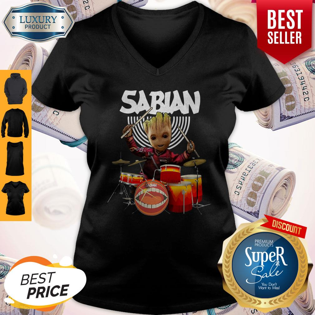 Baby Groot Show Animal Playing Sabian Drums V-neck