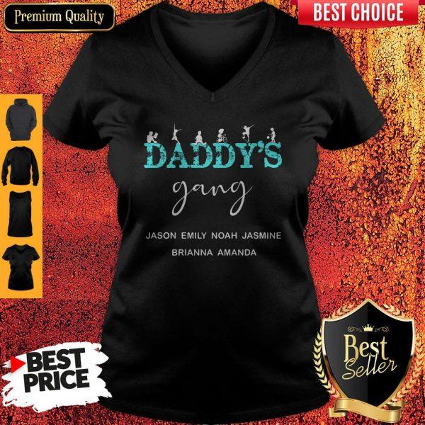 Daddy's Gang Jason Emily Noah Jasmine Brianna Amanda V-neck