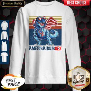 Dinosaur American Flag 4th Of July Ameri Saurus Rex Retro Sweatshirt