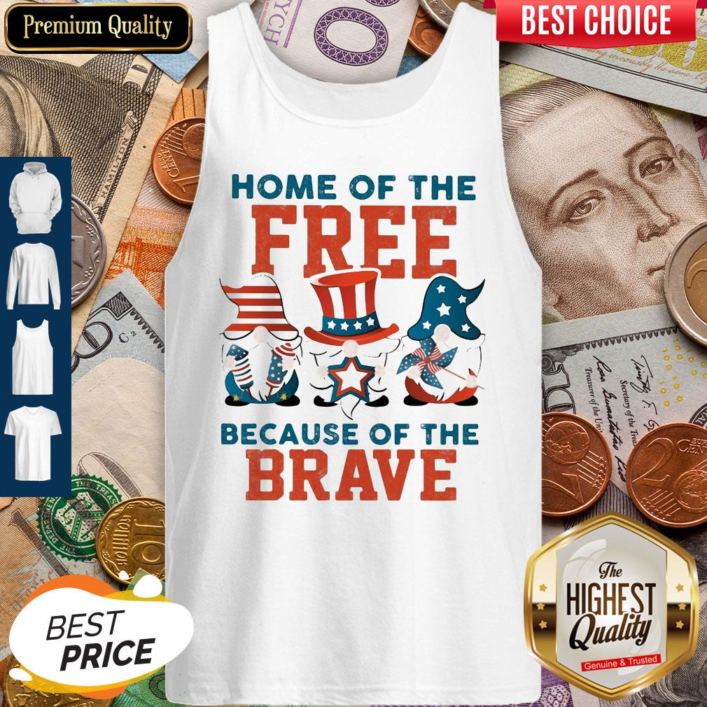 Home Of The Free Because Of The Brave Santa American Flag Veteran Independence Day Tank Top