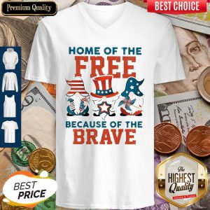 Home Of The Free Because Of The Brave Santa American Flag Veteran Independence Day V-neck
