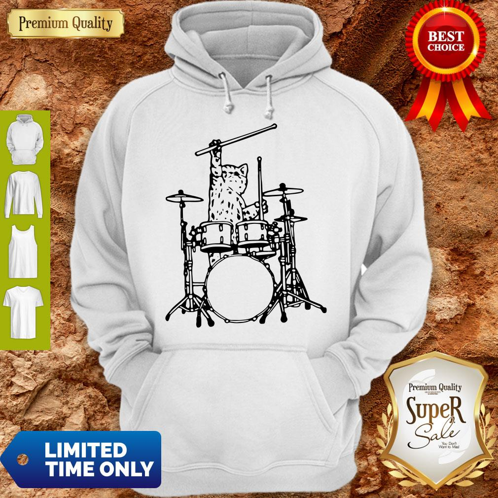 Drummer Cat Music Lover Musician Playing The Drums Hoodie