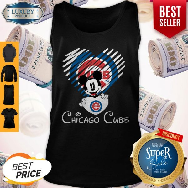 Mickey Mouse Hug Heart Chicago Cubs Logo Tank Top